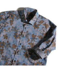 【SALE/50%OFF】MEN'S BIGI ギンガムフラワーシャツ7分袖 メンズ ビギ シャツ/ブラウス【RBA_S】【RBA_E】【送料無料】