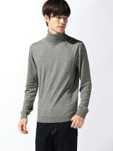 (M)ビスコース混タートルネックニット・セーター