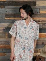 フラワー & バードプリント オープンシャツ