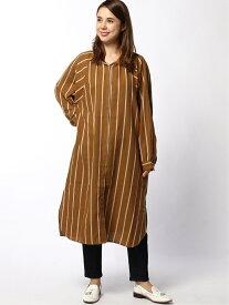 【SALE/30%OFF】LAKOLE (W)アヤメストライプシャツドレス ラコレ ワンピース シャツワンピース ブラウン