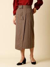 ベルト付きラップ風タイトスカート