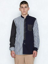 BAND COLLAR FLY FRONT SHIRTS_STRIPE