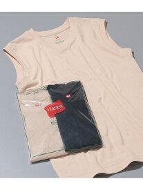 ADAM ET ROPE' 【HanesFORBIOTOP】SleevelessT-Shirts(カラー) アダムエロペ カットソー カットソーその他 ベージュ ブラック【送料無料】