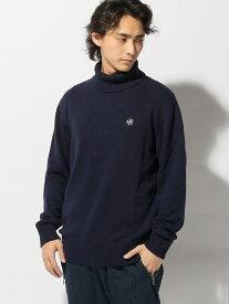 【SALE/70%OFF】nudie jeans FRANKLIN&MARSHALL/(M)ハイネックニット ヌーディージーンズ / フランクリンアンドマーシャル ニット 長袖ニット ネイビー ホワイト【送料無料】