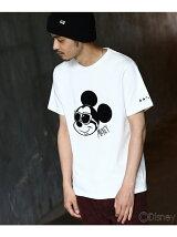 【ユニセックス】袖スター刺繍 サングラスTシャツ(ミッキーマウス)