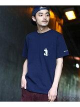 【ユニセックス】袖スター刺繍 ポケットTシャツ(ミッキーマウス)