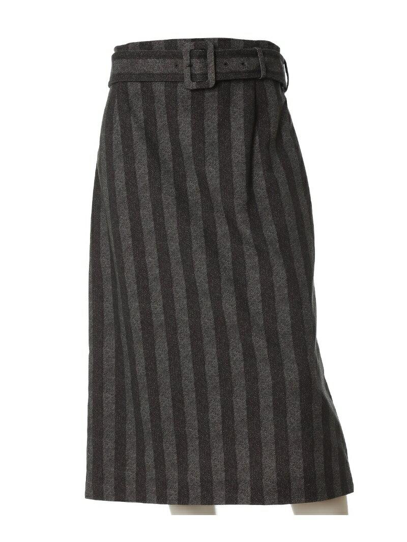 INED L size 《大きいサイズ》ベルト付きIラインスカート【INED】《Karl Karl-KS(R)》 イネド エルサイズ スカート【送料無料】
