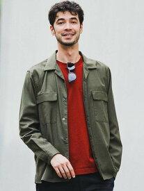 UNITED ARROWS green label relaxing CMT/Wトロダブルパッチオープンカラー長袖シャツ<機能性生地/ストレッチ・ウォッシャブル> ユナイテッドアローズ グリーンレ【送料無料】