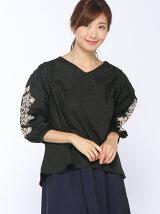 Techichi TERRASSE/ボリューム袖刺繍ブラウス