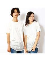 総柄グラデーションプリントロングTシャツ