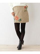 コーデュロイ刺繍ミニスカート