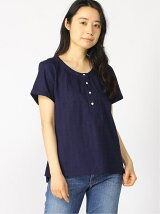 (W)Roll Sleeve Button Front Top