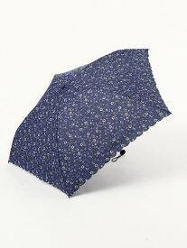 Afternoon Tea 小花柄晴雨兼用軽量折りたたみ傘雨傘 アフタヌーンティー・リビング ファッショングッズ 日傘/折りたたみ傘 ネイビー ピンク