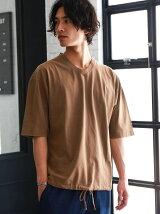 SC WASHED HEM/CORD Vネック Tシャツ