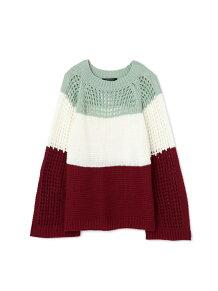 メッシュ編み配色ニット