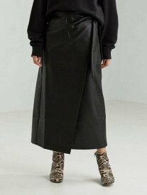 【SALE/30%OFF】UNITED ARROWS green label relaxing FM6CDフェイクレザーラップスカート ユナイテッドアローズ グリーンレーベルリラクシング スカート ロングスカート ブラック ホワイト【送料無料】