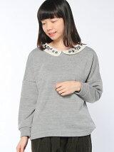 オーガンジー刺繍衿プルオーバー