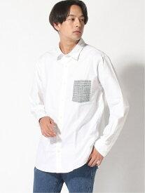GLOBAL WORK (M)OXフォードポケガラシャツ グローバルワーク シャツ/ブラウス 長袖シャツ ホワイト ネイビー ベージュ