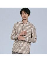 【Recency of Mine】幾何柄刺繍ストライプシャツ