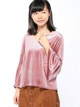 8/25C・ブライトベロア袖タックフレアー/TOPS