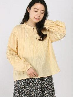 Samansa Mos2 race pin-tuck blouse Samantha MOS MOS shirt / blouse long sleeves shirt yellow white gray