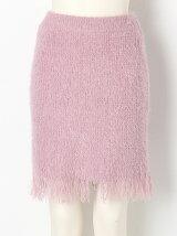 裾フリンジシャギーニットスカート