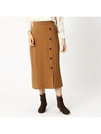 COMME CA ISM サイドプリーツニットスカート コムサイズム スカート ロングスカート ブラウン ブラック【送料無料】