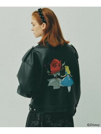 AG by aquagirl ◆Disney「ふしぎの国のアリス」刺繍ライダースジャケット エージーバイ アクアガール コート/ジャケット ライダースジャケット/レザージャケット ブラック【送料無料】