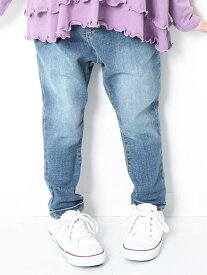 devirock 楽デニム デニムタックパンツ 男の子 女の子 ボトムス 長ズボン 全4色 80-160 デビロック パンツ/ジーンズ キッズパンツ ブルー ネイビー