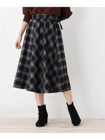 【SALE/30%OFF】SHOO・LA・RUE ベルテッドタータンチェックミモレスカート シューラルー スカート スカートその他 ブラック ベージュ レッド