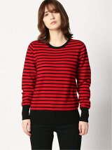 AZOE/(W)CASHMERE BORDER CREW-NECK KNIT