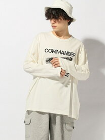 【SALE/29%OFF】ALTAIR clothing int. (M)ツイル切り替えプリント長袖Tシャツ アルタイル クロージング カットソー Uネックカットソー ホワイト カーキ