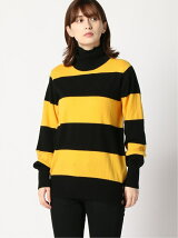 AZOE/(W)CASHMERE BORDER HIGH-NECK KNIT