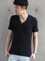 半袖Vネック胸ポケット付きTシャツ