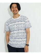 梨地 ペイズリープリント Tシャツ