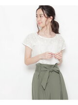 カットワーク刺繍フレンチスリーブシャツ