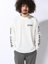 【BROWNY】(M)チェッカーフラッグプリントロングTシャツ