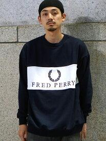 BEAMS MEN FRED PERRY × BEAMS / 90sロゴ 切替 クルースウェット ビームス メン カットソー Uネックカットソー ネイビー パープル ホワイト【送料無料】