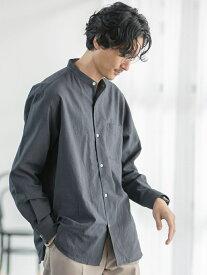 coen ウィンターリネンバンドカラーシャツ コーエン シャツ/ブラウス 長袖シャツ グレー ホワイト ブラウン カーキ