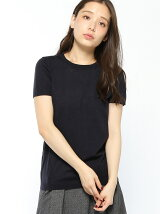 (W)カシミヤ混Uネックリブ半袖ニット・セーター(オンライン限定)