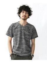 //撚り杢WフェイスVネックTシャツ