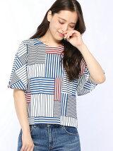 (W)パネルボーダーフレアスリーブTシャツ・カットソー