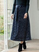WAVELETS ジャガードベロアスカート