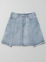 裾フリンジ切り替えスカート