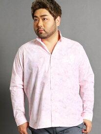 HIDEAWAYS(大きいサイズ) <大きいサイズ>総柄長袖シャツ ニコル シャツ/ブラウス 長袖シャツ ネイビー ピンク ホワイト【送料無料】