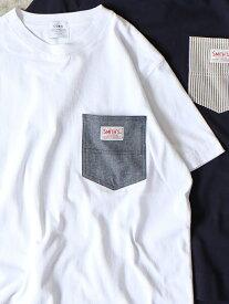 【SALE/30%OFF】coen 【女性にも人気】SMITH別注ポケットTシャツ19SS(一部WEB限定カラー) コーエン カットソー Tシャツ ホワイト グリーン ネイビー レッド