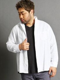 HIDEAWAYS(大きいサイズ) <大きいサイズ>コットンカラーシャツ ニコル シャツ/ブラウス 長袖シャツ ブラック ホワイト ブルー ネイビー【送料無料】