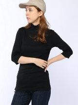 (W)ループロゴハイネック6分袖Tシャツ・カットソー