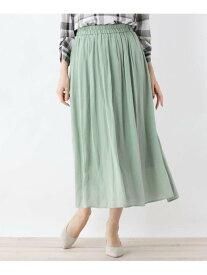 SHOO・LA・RUE 【M-LL】ナイルサテンギャザースカート シューラルー スカート ロングスカート グリーン ネイビー ブラウン