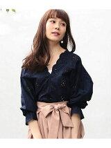 【WEB限定カラー】パンチングレースボリューム袖ブラウス